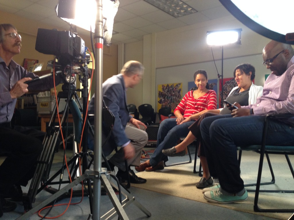 Jenerra Williams, Kathy D'Andrea, and Nakia Keizer are interviewed by John Tulenko of Learning Matters for PBS News Hour.